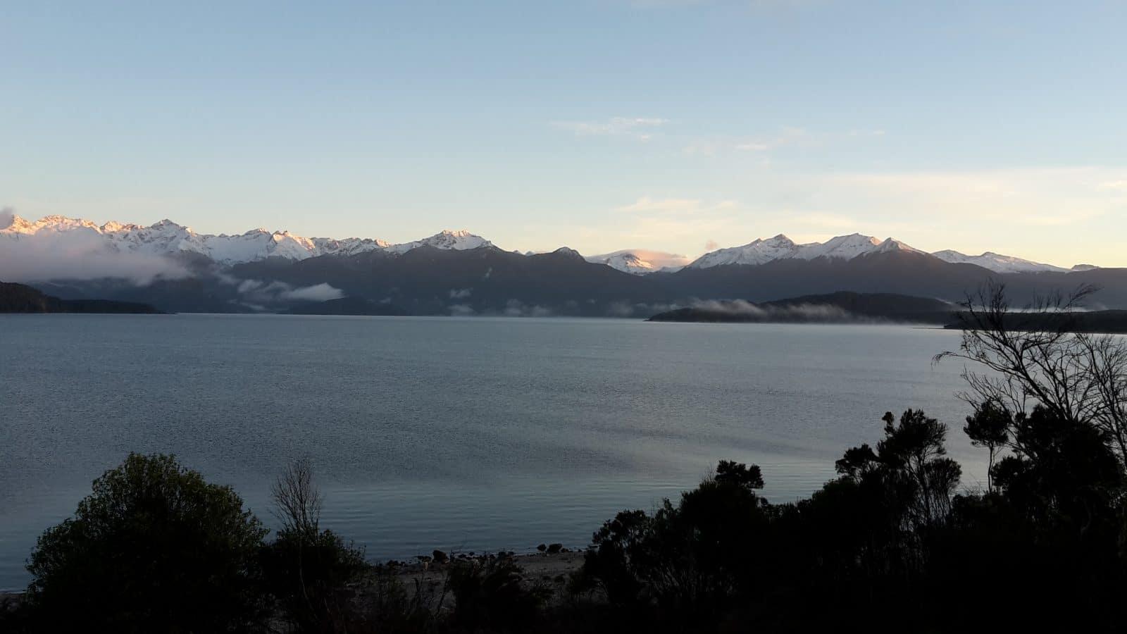 Snowy mountains Lake Manapouri